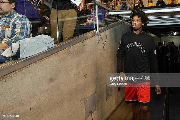 Lucas Nogueira of the Toronto Raptors runs out before the game against the Indiana Pacers on December 14 2015 at Bankers Life Fieldhouse in...
