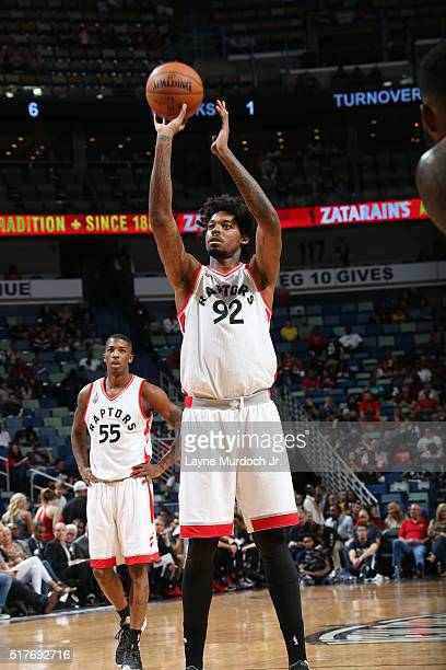 Lucas Nogueira of the Toronto Raptors shoots a free throw against the New Orleans Pelicans on March 26 2016 at Smoothie King Center in New Orleans...