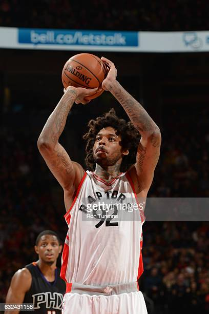 Lucas Nogueira of the Toronto Raptors shoots a free throw during a game against the Phoenix Suns on January 22 2017 at the Air Canada Centre in...