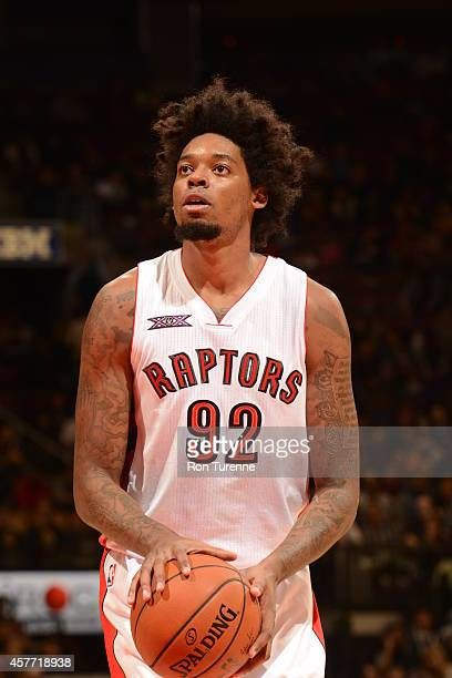Lucas Nogueira of the Toronto Raptors shoots a free throw during the game against Maccabi Haifa on October 22 2014 at the Air Canada Centre in...