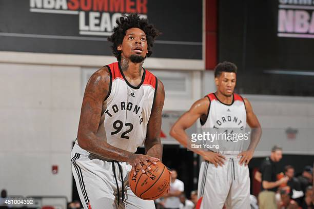 Lucas Nogueira of the Toronto Raptors shoots against the Chicago Bulls during the game on July 16 2015 at Cox Pavilion Las Vegas Nevada NOTE TO USER...