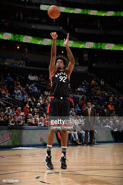 Lucas Nogueira of the Toronto Raptors shoots against the Denver Nuggets on February 1 2016 at the Pepsi Center in Denver Colorado NOTE TO USER User...