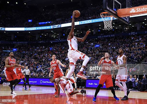 Lucas Nogueira of the Toronto Raptors shoots the ball during the second half of an NBA game against the Philadelphia 76ers at the Air Canada Centre...