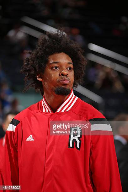 Lucas Nogueira of the Toronto Raptors stands on the court before a game against the New York Knicks on February 28 2015 at Madison Square Garden in...