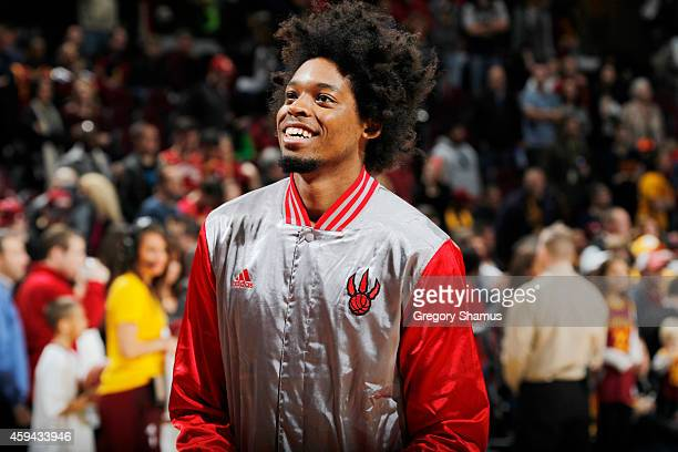 Lucas Nogueira of the Toronto Raptors warming up before the game against the Cleveland Cavaliers on November 22 2014 at Quicken Loans Arena in...
