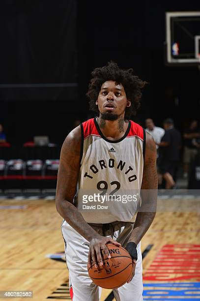 Lucas Nogueira of the Toronto Raptors warms up before the game against the Sacramento Kings on July 10 2015 at Thomas and Mack Center in Las Vegas...