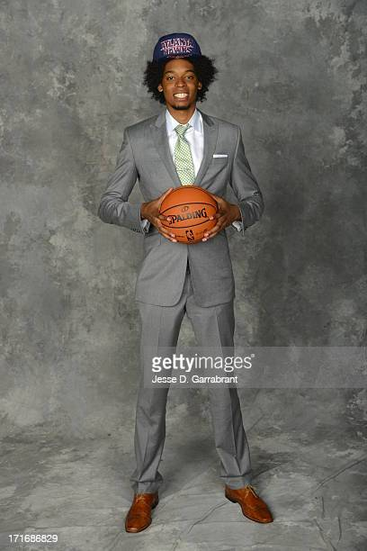 Lucas Nogueira poses for a portrait after being selected by the Atlanta Hawks during the 2013 NBA Draft at the Barclays Center on June 27 2013 in...