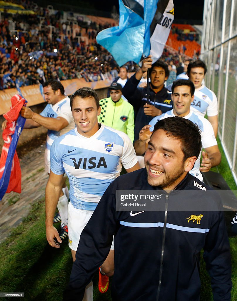 Lucas Noguera Paz and Juan Imhoff of Argentina celebrate with teammates after winning a match between Argentina Los Pumas and Australia Wallabies as...