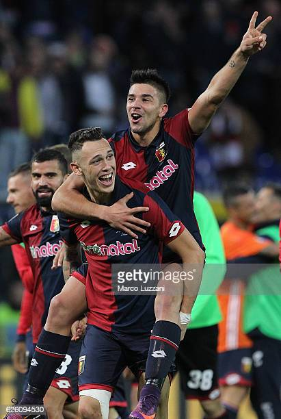 Lucas Ocampos and Giovanni Simeone of Genoa CFC celebrate a victory at the end of the Serie A match between Genoa CFC and Juventus FC at Stadio Luigi...