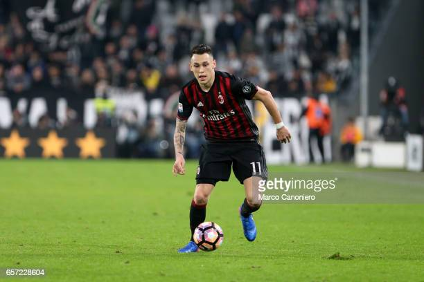 Lucas Ocampos of Ac Milan in action during the Serie A football match between Juventus FC and Ac Milan at Juventus Stadium Juventus FC wins 21 over...