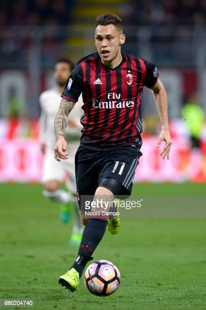 Lucas Ocampos of AC Milan in action during the Serie A football match between AC Milan and AS Roma AS Roma wins 41 over AC Milan