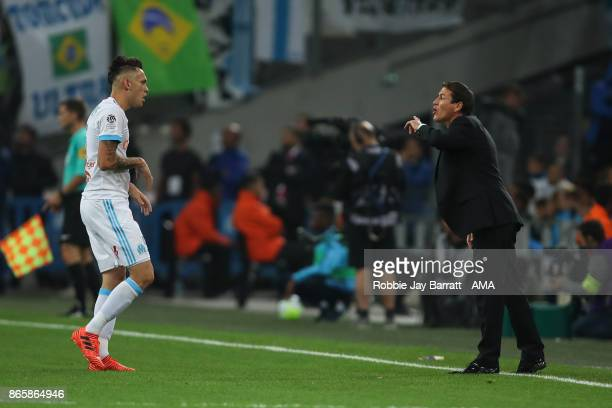 Lucas Ocampos of Marseille and Rudi Garcia head coach / manager of Marseille during the Ligue 1 match between Olympique Marseille and Paris Saint...