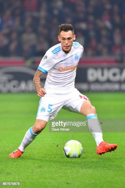 Lucas Ocampos of Marseille during the Ligue 1 match between Lille OSC and Olympique Marseille at Stade Pierre Mauroy on October 29 2017 in Lille...