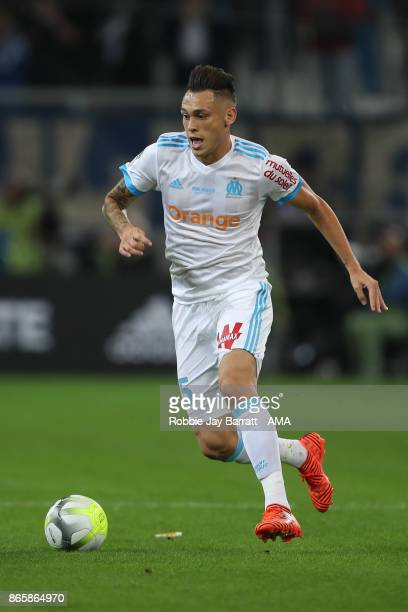 Lucas Ocampos of Marseille during the Ligue 1 match between Olympique Marseille and Paris Saint Germain at Stade Velodrome on October 22 2017 in...