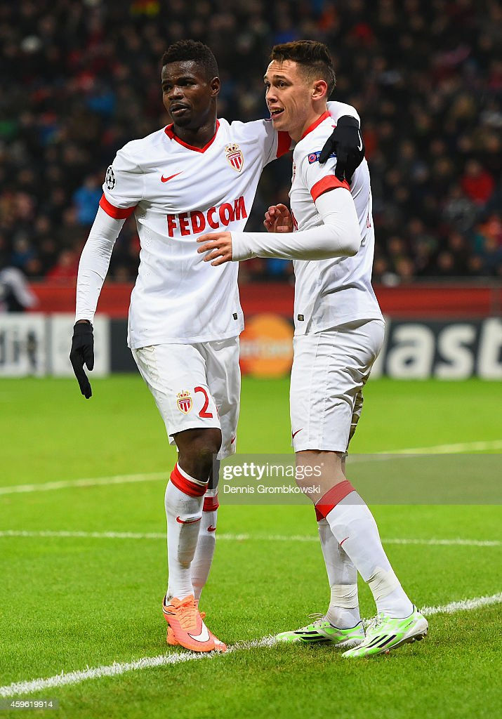 <a gi-track='captionPersonalityLinkClicked' href=/galleries/search?phrase=Lucas+Ocampos&family=editorial&specificpeople=7038727 ng-click='$event.stopPropagation()'>Lucas Ocampos</a> of Monaco celebrates scoring the opening goal with <a gi-track='captionPersonalityLinkClicked' href=/galleries/search?phrase=Elderson&family=editorial&specificpeople=7148791 ng-click='$event.stopPropagation()'>Elderson</a> Uwa Echiejile of Monaco during the UEFA Champions League group C match between Bayer 04 Leverkusen and AS Monaco FC at BayArena on November 26, 2014 in Leverkusen, Germany.