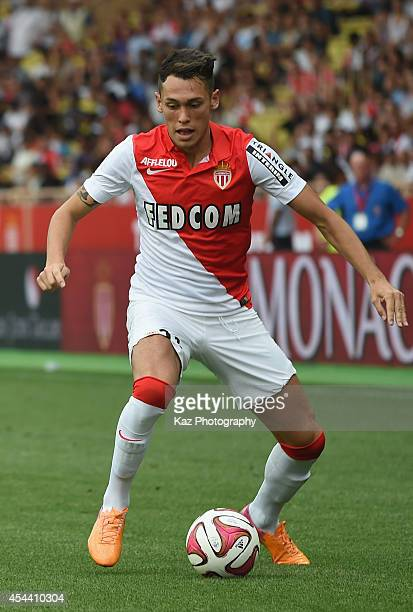 Lucas Ocampos of Monaco in action during the French Ligue 1 match between AS Monaco FC and LOSC Lille at Louis II Stadium on August 30 2014 in Monaco...