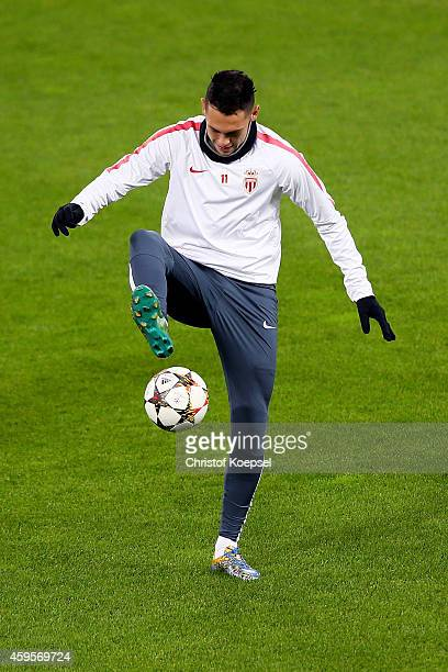 Lucas Ocampos of Monaco juggles with the ball during a AS Monaco training session ahead of the UEFA Champions League Group C match between Bayer...