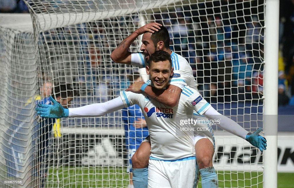 Lucas Ocampos of Olympique de Marseille celebrates with Mauricio Isla after scoring during the UEFA Europa League football match between FC Slovan...