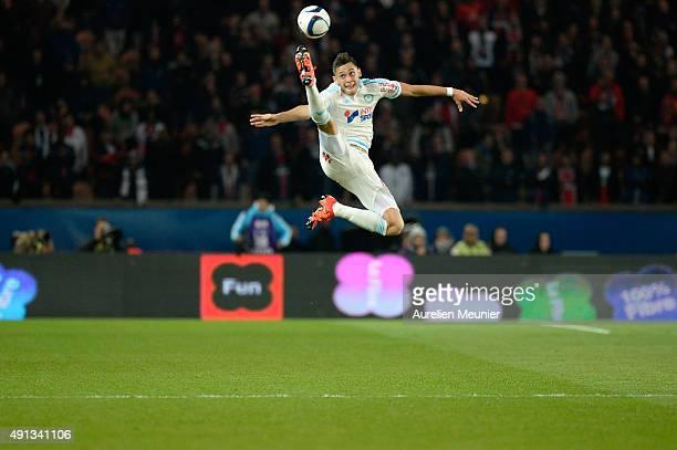 Lucas Ocampos of Olympique de Marseille controls the ball during the Ligue 1 game between Paris SaintGermain and Olympique de Marseille at Parc des...