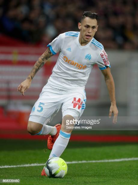 Lucas Ocampos of Olympique Marseille during the French League 1 match between Lille v Olympique Marseille at the Stade Pierre Mauroy on October 29...