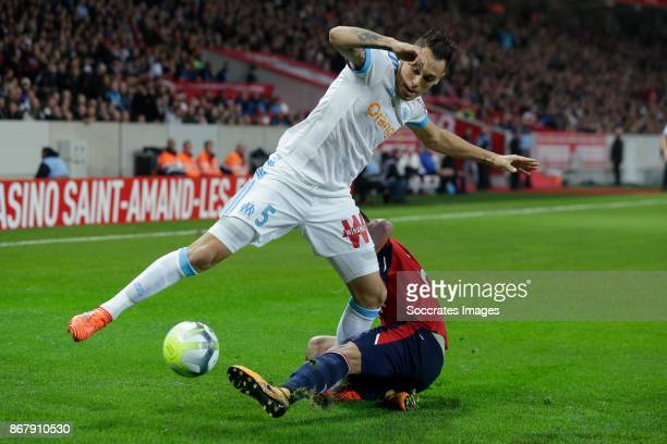 Lucas Ocampos of Olympique Marseille Thiago Maia of Lille during the French League 1 match between Lille v Olympique Marseille at the Stade Pierre...
