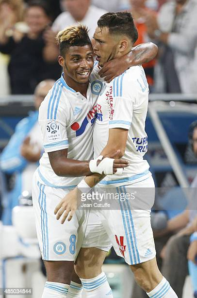 Lucas Ocampos of OM celebrates his goal with Mario Lemina of OM during the French Ligue 1 match between Olympique de Marseille and Troyes ESTAC at...