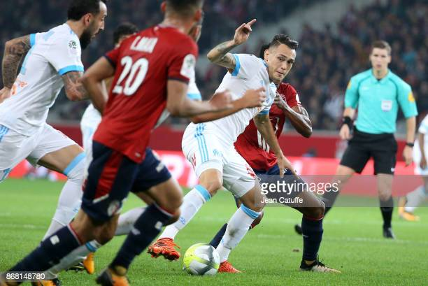 Lucas Ocampos of OM during the French Ligue 1 match between Lille OSC and Olympique de Marseille at Stade Pierre Mauroy on October 29 2017 in Lille...
