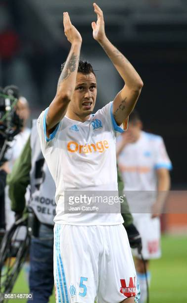 Lucas Ocampos of OM following the French Ligue 1 match between Lille OSC and Olympique de Marseille at Stade Pierre Mauroy on October 29 2017 in...