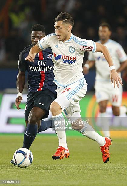 Lucas Ocampos of OM in action during the French Ligue 1 match between Paris SaintGermain FC and Olympique de Marseille at Parc des Princes stadium on...