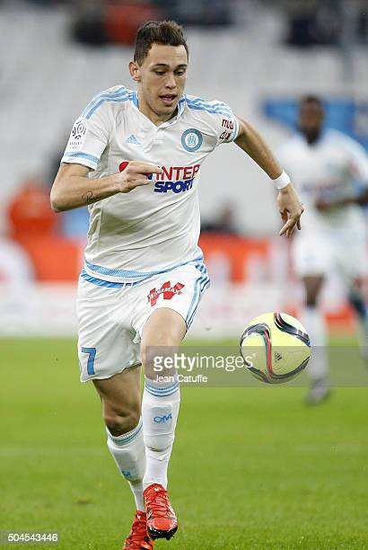 Lucas Ocampos of OM in action during the French Ligue 1 match between Olympique de Marseille and En Avant Guingamp at New Stade Velodrome on January...