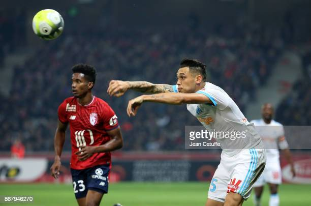 Lucas Ocampos of OM Thiago Mendes of Lille during the French Ligue 1 match between Lille OSC and Olympique de Marseille at Stade Pierre Mauroy on...