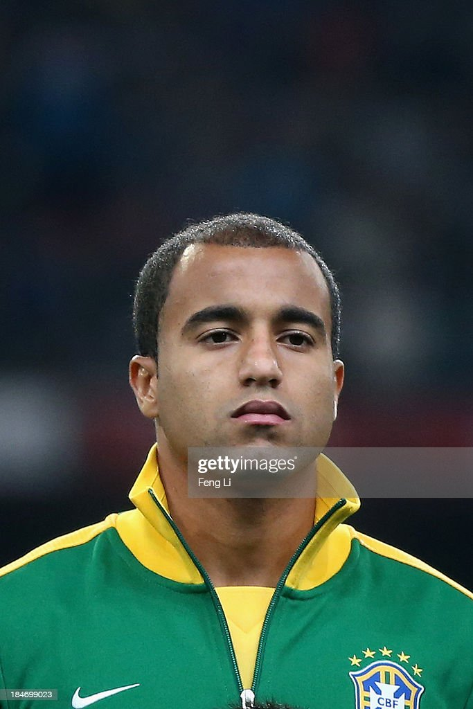 Lucas of Brazil poses during the international friendly match between Brazil and Zambia at Beijing National Stadium on October 15, 2013 in Beijing, China.