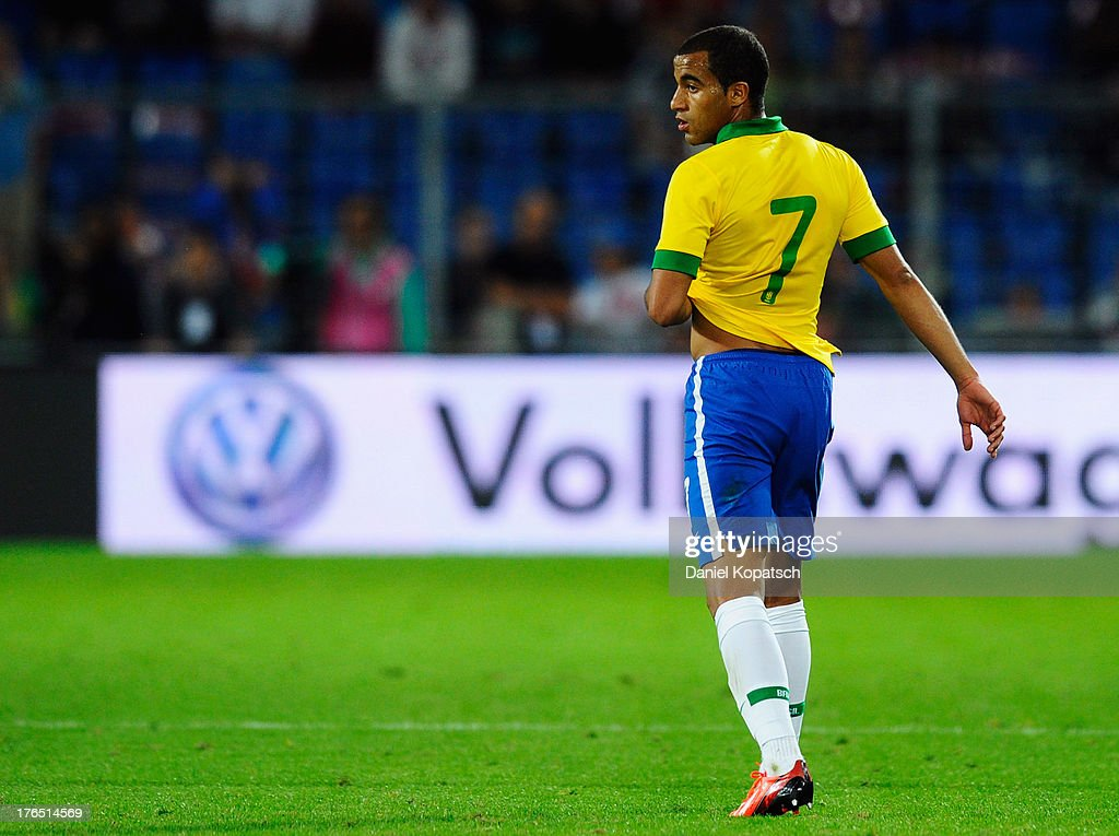 Lucas of Brazil reacts during the international friendly match between Switzerland and Brazil at St. Jakob Stadium on August 14, 2013 in Basel, Switzerland.