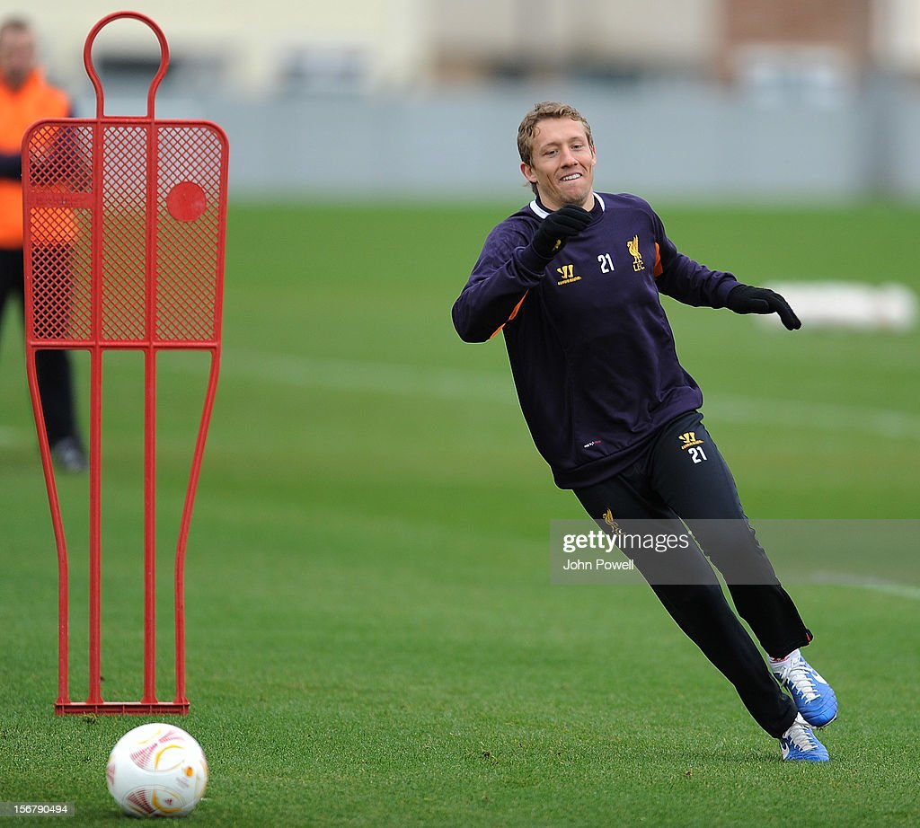 OUT. Lucas of Liverpool at Melwood Training Ground on November 21, 2012 in Liverpool, England.