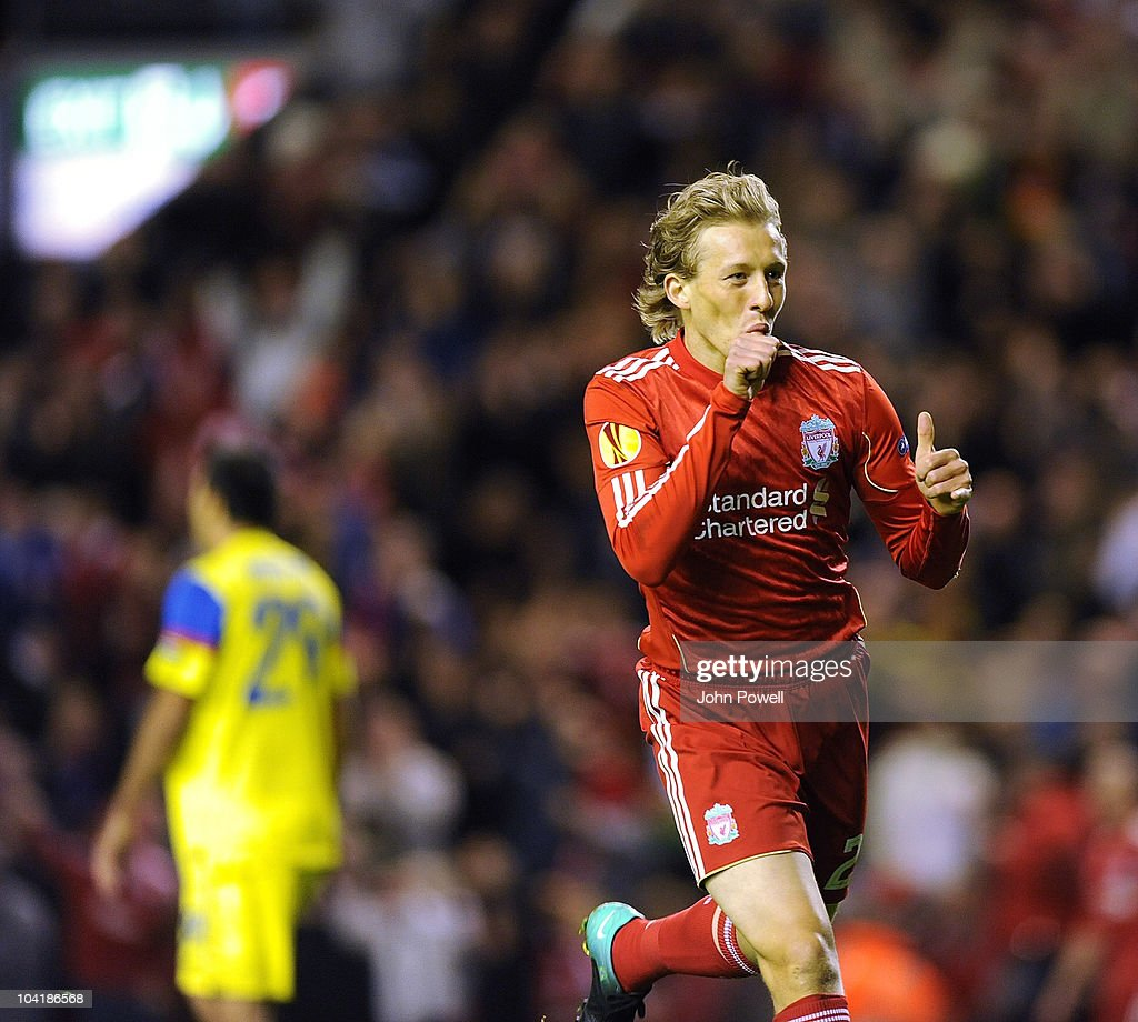 Lucas of Liverpool celebrates his goal during the first leg UEFA Europa League Group K match between Liverpool and Steau Bucharest on September 16, 2010 in Liverpool, England.