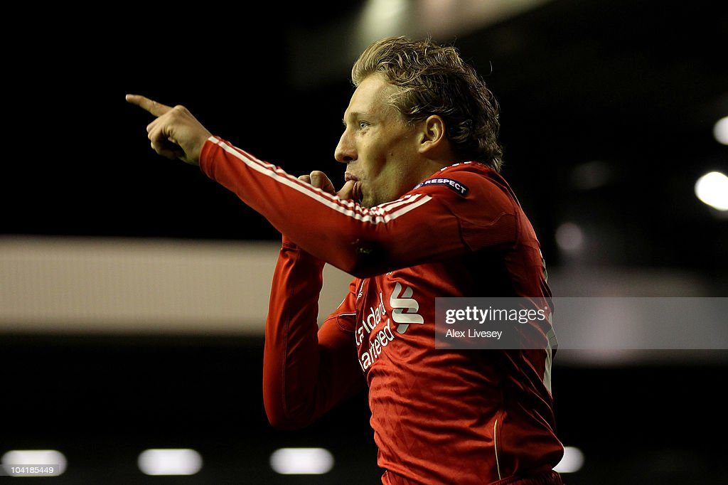 Lucas of Liverpool celebrates scoring his team's third goal during the UEFA Europa League Group K match beteween Liverpool and Steaua Bucharest at Anfield on September 16, 2010 in Liverpool, England.