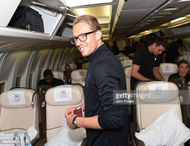 Lucas of Liverpool on the plane to Australia at Melwood Training Ground on May 22 2017 in Liverpool England