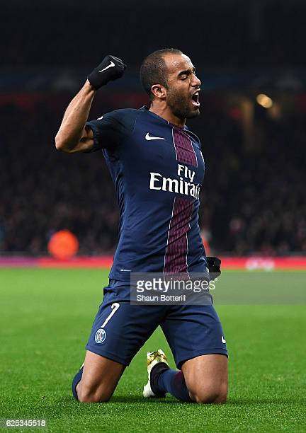 Lucas of Lucas of PSG celebrates scoring his sides second goal during the UEFA Champions League Group A match between Arsenal FC and Paris...