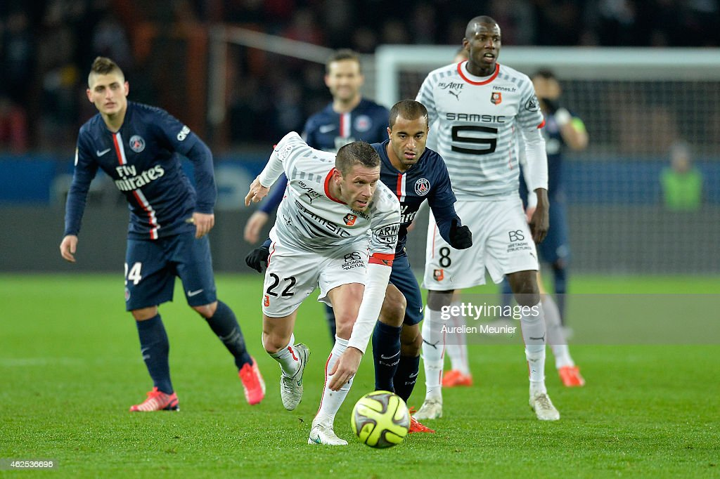 Lucas of Paris Saint Germain and Sylvain Armand of Stade Rennais in action during the 23rd day of the French Ligue 1 between Paris Saint Germain and...