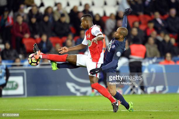 Lucas of Paris SaintGermain fights for the ball during the French Cup SemiFinal match between Paris SaintGermain and As Monaco at Parc des Princes on...