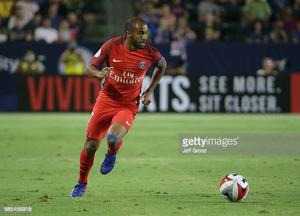 Lucas of Paris SaintGermain in action against Leicester City during the 2016 International Champions Cup at StubHub Center on July 30 2016 in Carson...