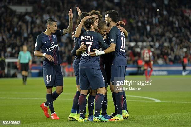 Lucas of Paris SaintGermain is congratulated by teammates for his goal during the Ligue 1 match between Paris SaintGermain and Dijon FCO at Parc des...