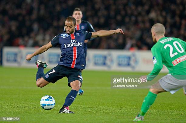 Lucas of Paris SaintGermain kicks the ball during the French League Cup game between Paris SaintGermain and AS Saint Etienne at Parc des Princes on...