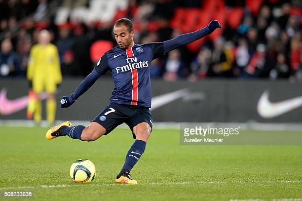 Lucas of Paris SaintGermain kicks the ball during the Ligue 1 game between Paris SaintGermain and FC Lorient at Parc des Princes on February 3 2016...