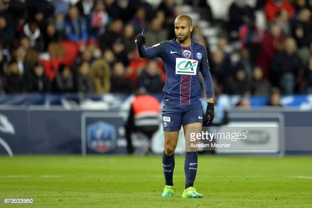 Lucas of Paris SaintGermain reacts during the French Cup SemiFinal match between Paris SaintGermain and As Monaco at Parc des Princes on April 26...