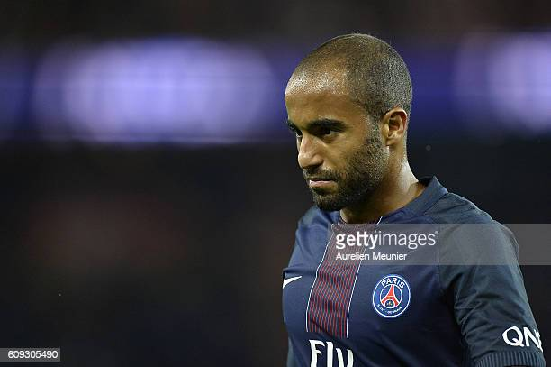 Lucas of Paris SaintGermain reacts during the Ligue 1 match between Paris SaintGermain and Dijon FCO at Parc des Princes on September 20 2016 in...