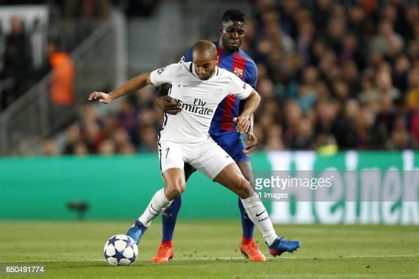 Lucas of Paris SaintGermain Samuel Umtiti of FC Barcelonaduring the UEFA Champions League round of 16 match between FC Barcelona and Paris Saint...