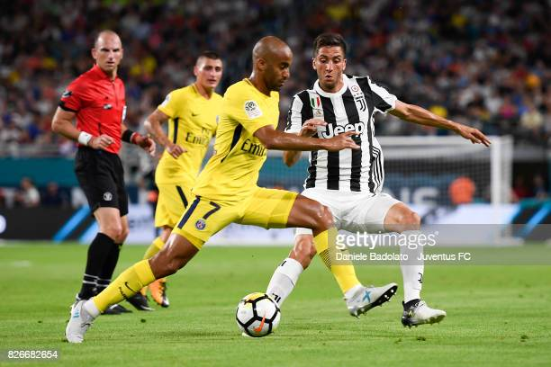 Lucas Of PSG and Rodrigo Bentancur of Juventus in action during the International Champions Cup 2017 match between Paris Saint Germain and Juventus...