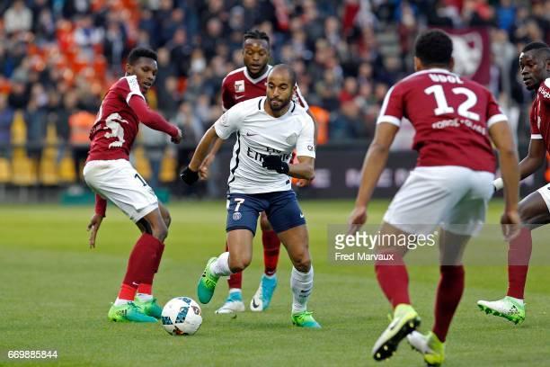 Lucas of PSG during the Ligue 1 match between Fc Metz and Paris SaintGermain at Stade SaintSymphorien on April 18 2017 in Metz France