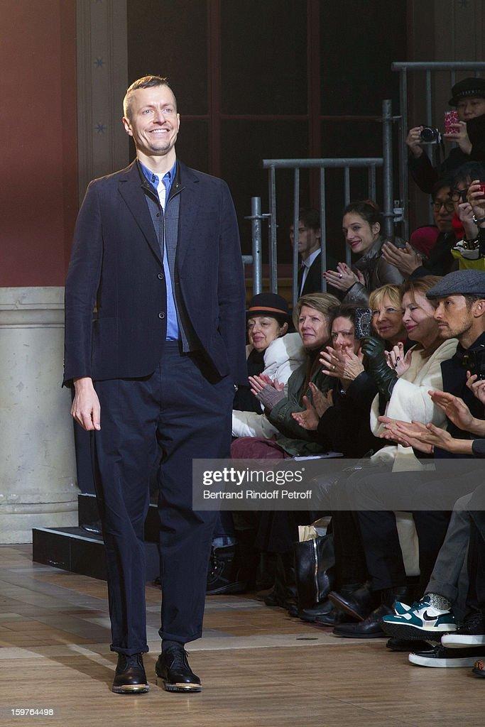 Lucas Ossendrijver acknowledges applause following the Lanvin Men Autumn / Winter 2013 show at Ecole Nationale Superieure Des Beaux-Arts as part of Paris Fashion Week on January 20, 2013 in Paris, France.